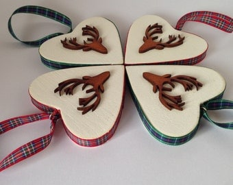 Stag Head, sabby chic Wooden Heart, Decoration, tartan trim