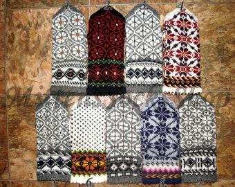 Hand Knitted Wool Mittens Hand Knitted Wool Gloves Winter Gloves Scandinavian Mittens Patterned Mittens Latvian Mittens Christmas Gift idea