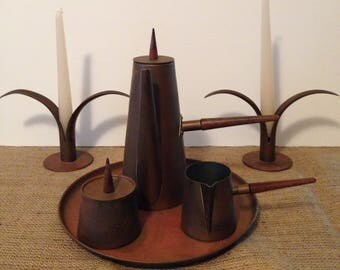 """Antique Douro B & M Copper Espresso-Coffee/Tea Set, Creamer, Sugar Bowl and 10"""" Tray, Removable Wooden Finials and Handles, Made In Portugal"""