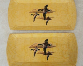 Vintage Wooden Platters Flying Geese Two Hasko Lightweight Serving Trays with Lithographed Paper Made in USA Hors d'Oeuvres Tray Canape Tray