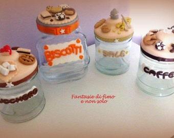 kitchen hand-decorated glass jars
