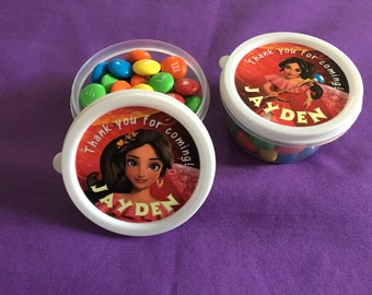 12 Personalized Elena of Avalor Candy containers / candy cups with lids / party favors