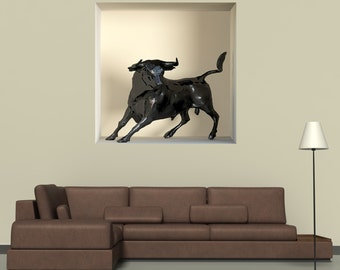 Wall decals 3D illusion Taurus A494 - Stickers 3D illusion taureau A494