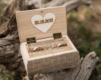 Personalized ring box Wedding Rustic bearer box, Ring holder pillow Wedding Keepsake wood box, ring box Rustic