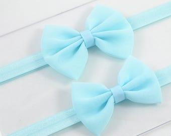 Light Blue Bow Headband Blue Baby Headband Fabric Blue Hair Bow Light Blue Headband Newborn Headband Chiffon Hair Bow