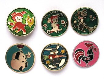 Cartoon characters, Children's badges, Pick from Set, Animal, Round Vintage collectible badge, Soviet Pin, Soviet Union, Made in USSR
