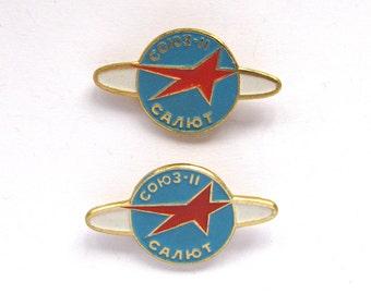 Soyuz -11 Salyut, Set of 2 Soviet Space Badges, Vintage metal collectible badge, Spacecraft, Soviet Pin, Vintage Badge, Made in USSR, 1980s