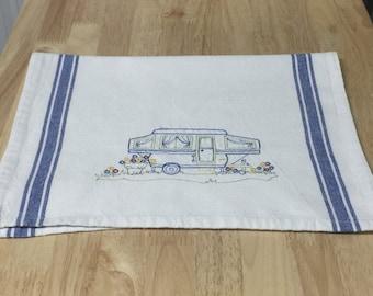 Happy Camper (Pop Up Trailer) Blue Version Tea Towel | Embroidered Tea Towel | Kitchen Towel | Embroidered Towel | Hand Towel | Dish Towel