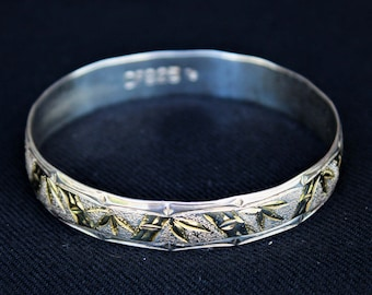 Vintage Sterling Silver Gold Accent HAWAIIAN BAMBOO Bangle Bracelet
