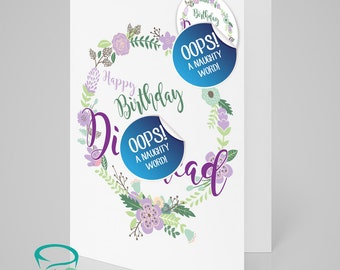 Happy Birthday D*ckhead- ADULT birthday card with matching 5cm pin badge. Alternative, kitsch and sweary!