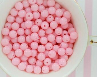 8mm Pastel Pink Round Beads - set of 100