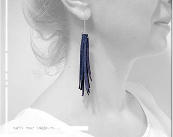 Blue Metallic earrings / / tassel leather / / Sterling Silver 925 / / elegant earrings