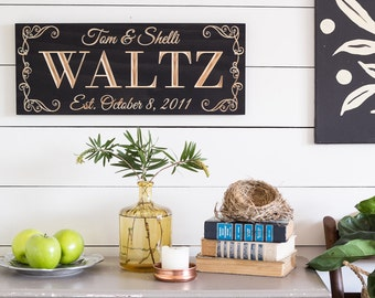 Last Name Sign, Wood Anniversary Gift, Personalized Gift, Gift for Bride, Wedding Gift, Gift for Couple, Wood Sign, Bridal Shower Gift, 9x23