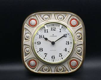 Junghans - West Germany Quality Mid Century Modern white /beige and red stunning Ceramic Vintage Wallclock