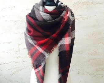 Christmas gift for her, blanket scarf, chunky scarf, plaid scarf, wool scarf, women's scarves, gift for wife, oversized scarf