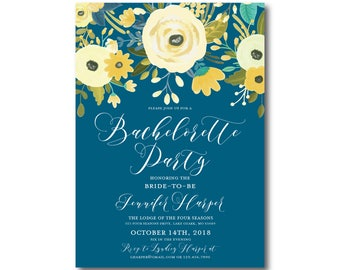Floral Bachelorette Party Invitation, Yellow and Blue Invitation, Floral Wedding, Spring Wedding, Bachelorette Party Invitation #CL337