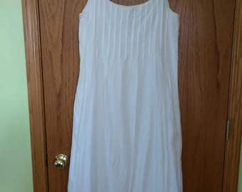 Vintage 90's White Cotton Dress, Gypsy, Boho, Whimsical, Festival, Festie, Pleated Upper