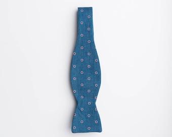 Manhattan Dot Bow Tie | Bow Tie | Polka Dot Bow Tie | Chambray bow tie | Blue Cotton Bow tie | Cotton Bow Tie | Denim bow Tie