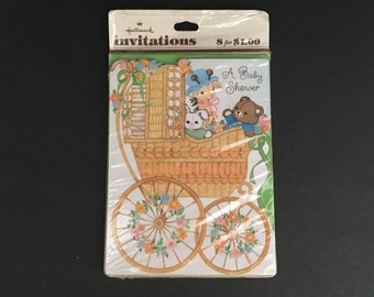 Vintage Hallmark Baby Shower Invitations. New package of 8. Wicker Baby Carriage.