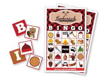 Lumberjack BINGO Game - Kid's Printable Bingo Game - Bingo Game for Kids & Adults - Lumberjack Party Game - Nature Bingo - Instant Download