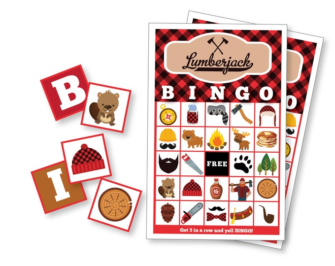 Lumberjack BINGO Game - Kid's Printable Bingo Game - Bingo Game for Kids & Adults - Lumberjack Party Game - Nature Bingo - Instant Download