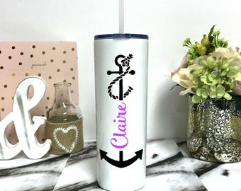 Personalized Anchor Cup - 20 oz Stainless Steel Nautical cup - Beach Cup - Lake Cup - nautical theme with anchors - cups with straws