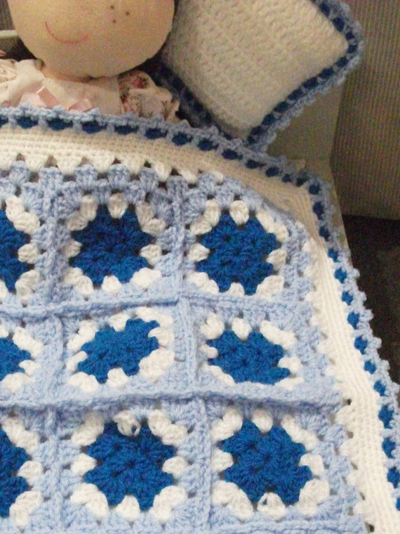 Crochet Pattern For Dolls Pram Blanket : Dolls bed crochet blanket and pillow for dolls bed or pram