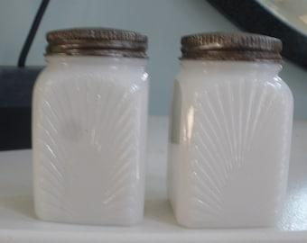 Milk Glass Vintage Salt & Pepper Shaker Set