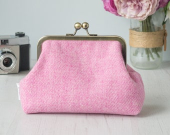Harris Tweed clutch purse evening bag, rose pink with cotton lining and an antique bronze metal kiss lock framed