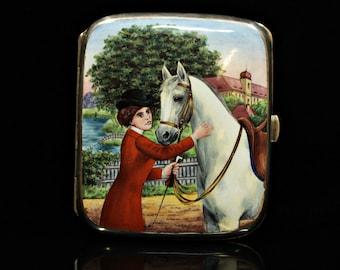 Antique original alpacca european enamel amazing lady and horse  decorated cigarette case