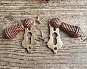 Pair of teak wood and brass beehive door keyhole cover escutcheon key hole N1