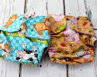 doll diapers - baby doll diapers - educational toys - mini mommy - Montessori toys - pretend play - girl Christmas gift - farm animal prints