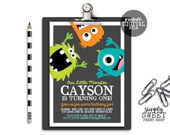 Monster Birthday Party Invitation Invite Chalkboard Little Monster Bash Green Orange Turquoise Blue Gray Silly Funny Cute Fun First One 1st
