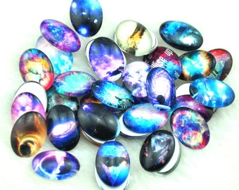 Mixed 30x40mm Oval Handmade Photo Glass Cabochon -  space cabochons --A017