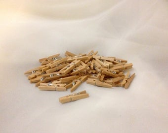 Craft / Doll Clothespins, 45 Tiny Wooden 1 inch, 2.5 centimeters, with metal Spring Center