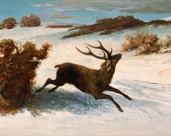 Gustave Courbet: Deer Running in the Snow. Fine Art Print/Poster. (004138)