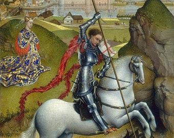 Rogier van der Weyden: Saint George and the Dragon. Fine Art Print/Poster. (004170)