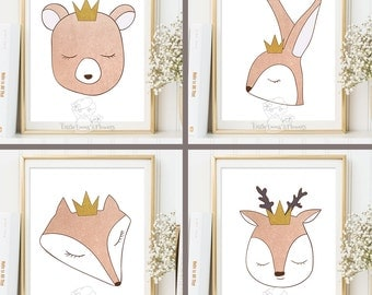 Nursery Art Prints set Woodland Animals rose gold colors girl wall decor poster kids room print printable fox bear forest gift for baby 7