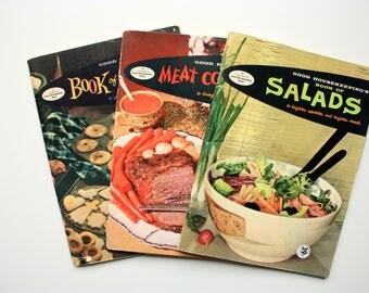 Set of 3 1950's Good Housekeeping Cookbooks - Book of Cookies, Book of Salads, Meat CookBook