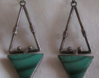 Sterling Silver and Malachite Dangle Wire Earrings