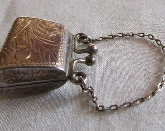 Adorable Sterling Silver Diamond Cut Purse Pendant