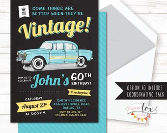 60th birthday invitation, 65th birthday invitation, Invitation for Men, 70th birthday, Classic Car, Surprise birthday, For Men, PRINTABLE