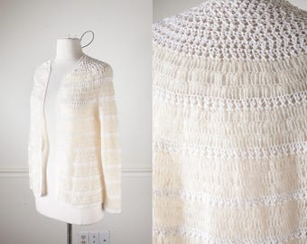 70s Sweater, Boho Sweater, Crocheted Cardigan Sweater, Bohemian Clothing, 70s Cardigan, Open Front Cardigan, White Sweater, Ivory Sweater
