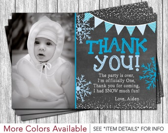 Winter Onederland Thank You Card • Personalized First Birthday Thank You Cards • Winter Wonderland, Snowflake
