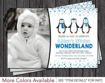 Penguin Birthday Invitation • Winter Wonderland • Winter ONEderland Birthday Invitations