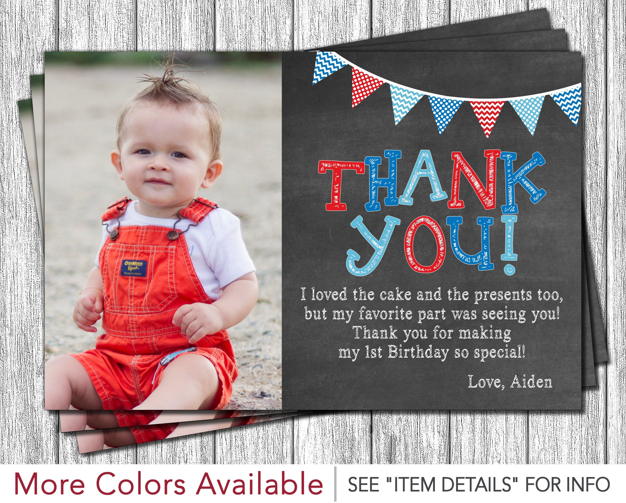 First Birthday Thank You Card 1st Birthday Chalkboard Thank – First Birthday Thank You Cards