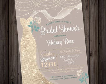 Ivory Gold Dress Bridal Shower Invitation, ivory beige and teal diamond fairy lights shower digital printable invitation, glitter wedding