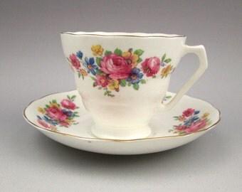 Embassy Ware Radford England Fondeville floral teacup and saucer vintage 1920s-30s