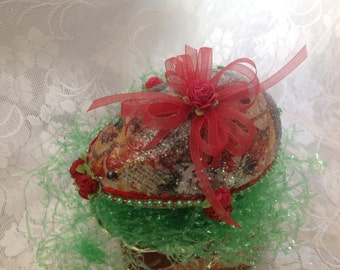 """Free shipping, large, sparkly Easter egg, decorated egg, """"sugar"""" egg,"""