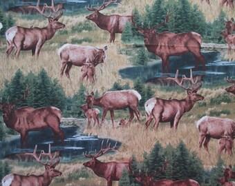"""Deer Fabric - Elizabeth's Studio 187 - WIlderness - Quilters Cotton - 23"""" x 44"""" only"""